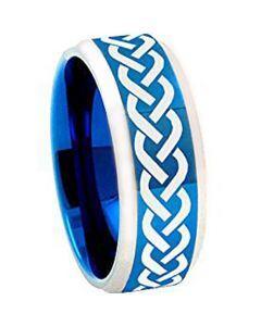 COI Tungsten Carbide Blue Silver Celtic Ring - TG1002AA