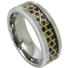 COI Titanium Gold Tone Star Beveled Edges Ring With Carbon Fiber-JT4115