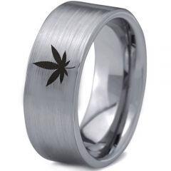 COI Tungsten Carbide Marijuana Leaf Pipe Cut Flat Ring-1119