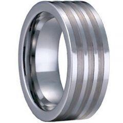 COI Tungsten Carbide Triple Lines Pipe Cut Flat Ring - TG1134