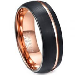 COI Tungsten Carbide Black Rose Offset Groove Ring - TG1135