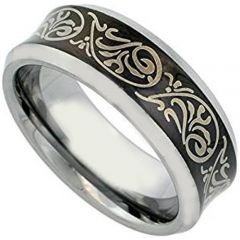 COI Titanium Black Silver Tribal Pattern Concave Ring - JT1154