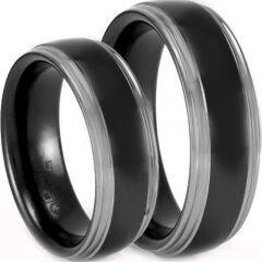 COI Titanium Black Silver Step Edges Ring - JT1197