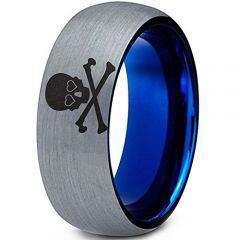 COI Tungsten Carbide Bule Silver Skull & Bones Dome Ring-123