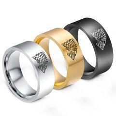 COI Titanium Game of Thrones Ice Wolf Flat Ring - 1290
