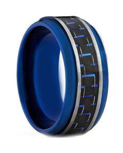 COI Titanium Blue Silver Carbon Fiber Step Edges Ring - JT1300A