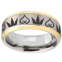 COI Titanium Gold Tone Silver Kingdom and Heart Ring-1365