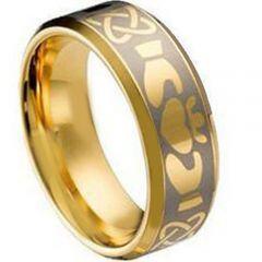 COI Gold Tone Titanium Mo Anam Cara Beveled Edges Ring - JT4110