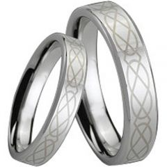 COI Tungsten Carbide Celtic Pipe Cut Flat Ring - TG166