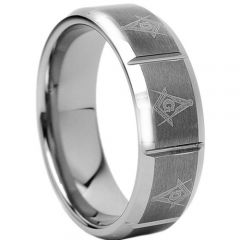 COI Tungsten Carbide Vertical Groove Masonic Ring - 1760