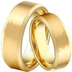 **COI Gold Tone Tungsten Carbide Polished Shiny Matt Beveled Edges Ring - TG1829