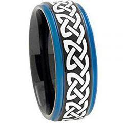 COI Tungsten Carbide Black Blue Celtic Step Edges Ring - TG1840A