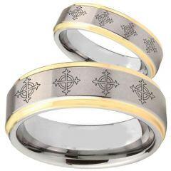 COI Tungsten Carbide Gold Tone Silver Cross Ring - TG1865BB