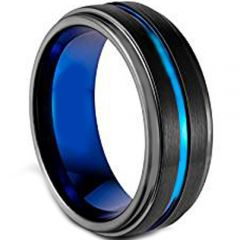 COI Tungsten Carbide Black Blue Center Groove Ring - TG1869