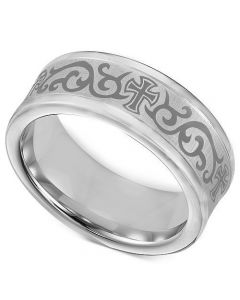 COI Tungsten Carbide Cross Celtic Double Grooves Ring-TG1967