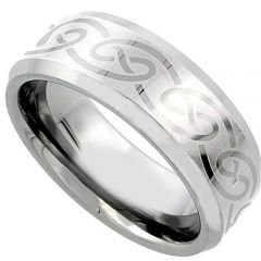 COI Tungsten Carbide Celtic Beveled Edges Ring - TG1987AAA