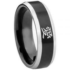 COI Tungsten Carbide Beveled Edges Ring With Love - TG2033