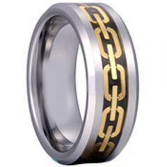 COI Titanium Gold Tone Key Chain Beveled Edges Ring - 2039