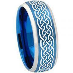 COI Tungsten Carbide Blue Silver Celticd Ring - TG2043AA