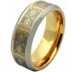 COI Titanium Gold Tone Silver Celtic Beveled Edges Ring - JT2060