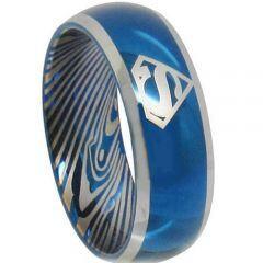 *COI Titanium Blue Silver Superman Damascus Ring-2085