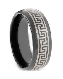 COI Black Tungsten Carbide Greek Key Ring - TG2117A