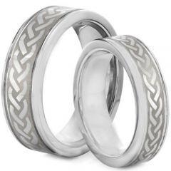 *COI Tungsten Carbide Celtic Couple Step Edges Ring - TG2127