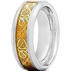 COI Titanium Gold Tone Dragon Beveled Edges Ring - JT2278A