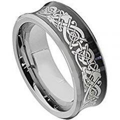 COI Titanium Black Silver Dragon Concave Ring - 2130