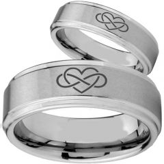 *COI Tungsten Carbide Infinity Hearts Step Edges Ring - TG2146BB