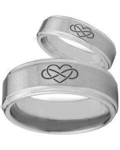 **COI Titanium Infinity Hearts Step Edges Ring - 2146