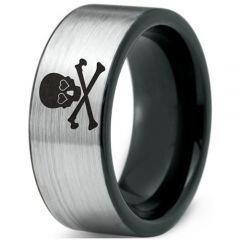 COI Tungsten Carbide Skull & Bones Pipe Cut Flat Ring - 2168