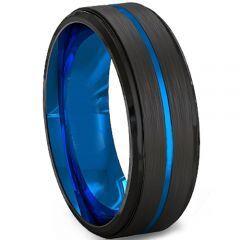 COI Titanium Black Blue Center Groove Step Edges Ring-2219