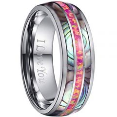 COI Tungsten Carbide Pink Crushed Opal & Abalone Shell Ring-2242