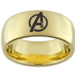 COI Gold Tone Titanium Marvel Avengers Dome Court Ring - 2243
