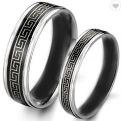 COI Tungsten Carbide Black Silver Greek Key Ring-2246