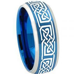 COI Tungsten Carbide Blue Silver Celtic Ring - TG2251A
