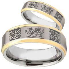 COI Tungsten Carbide Gold Tone Silver Celtic Dragon Ring-TG2354