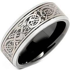 COI Titanium Black Silver Dragon Beveled Edges Ring - JT2357BB