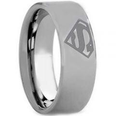 COI Titanium SuperMan Pipe Cut Flat Ring - JT2400