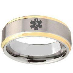 COI Titanium Gold Tone Silver Medical Alert Step Edges Ring-2407