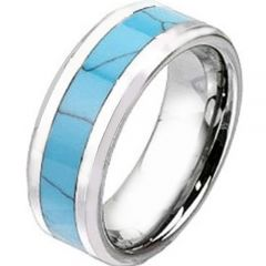 COI Tungsten Carbide Turquoise Beveled Edges Ring - TG2438