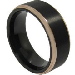 COI Tungsten Carbide Black Silver Step Edges Ring - TG2490A