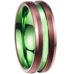 COI Tungsten Carbide Expesso Green Center Groove Ring - TG2534BB