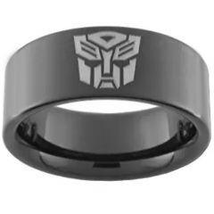 COI Black Titanium Transformer Pipe Cut Flat Ring - 2545