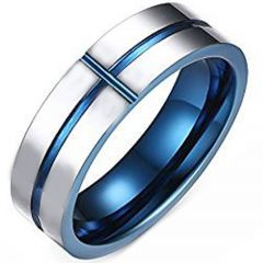 COI Tungsten Carbide Blus Silver Groove Ring-TG2557