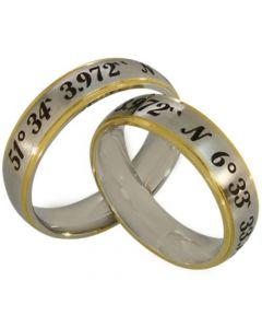 COI Tungsten Carbide Gold Tone Custom Coordinate Ring-5148