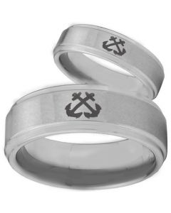 COI Tungsten Carbide Anchor Step Edges Ring - TG262BB