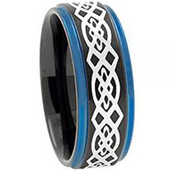 COI Tungsten Carbide Black Blue Celtic Step Edges Ring - TG2730