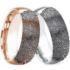 COI Titanium Silver/Rose Custom FingerPrint Dome Court Ring-2762